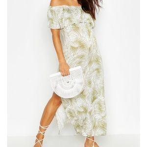 off shoulder green jungle print maternity dress